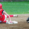 Amesbury: Amesbury player Amanda Schell makes a steal to second as Newburyport short stop Dow goes for the ball. Bryan Eaton/Staff Photo