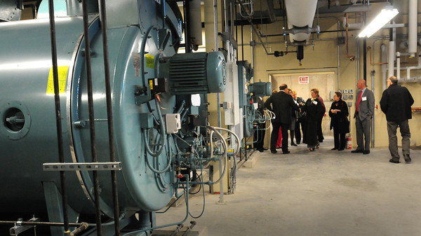 Newburyport: People take a tour of the new boilers in the Zampell Building at Anna Jaques Hospital. Bryan Eaton/Staff Photo