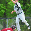 Newburyport: Newburyport's James Conway makes it safely back to second under Manchester-Essex shortstop Joe Burgess. Bryan Eaton/Staff Photo