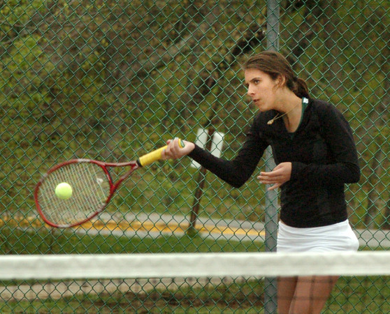West Newbury: One of Pentucket High's tennis team sisters, Rachael Downey. Bryan Eaton/Staff Photo