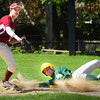 Newburyport: Newburyport first baseman Connor MacRae has the ball forcing North Reading's Kyle Boucher out. Bryan Eaton/Staff Photo