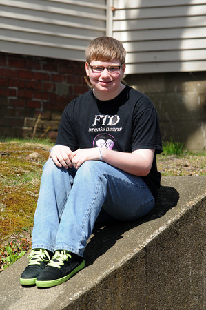 Merrimac :Justin,, 14, has lost several relatives to frontotemporal disorder, otherwise known as FTD, a degenerative brain disease.  His mother, Kathy, has also tested positive for the gene mutation that causes the disease.  <br /> Now Justin is on a mission to raise both money and awareness of FTD in the hope of funding research to find a cure. Jim Vaiknoras/staff photo