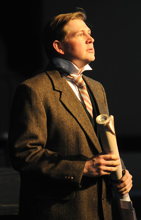 """Georgetown:  Kirk Trach of Newburyport as Thomas Andrews , performs during the dress rehearsal of """"Titanic"""" the musical at  the First Congregational Church in Georgetown. Jim Vaiknoras/staff photo"""