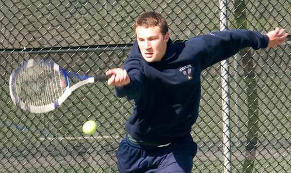 Byfield: Triton's seconds singles player Brock Germinara during his match with Amesbury's John Larnard Friday at Triton. JIm Vaiknoras/staff photo