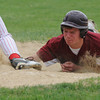 Newburyport: Newburyport's Ryan Short gets a face full of dirt as he slides safely back to first during the Clippers home game against Amesbury Saturday. Jim Vaiknoras/Staff photo