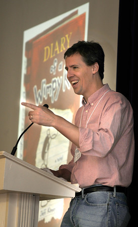 Newburyport: Jeff Kinney, author of Diary of a Whimp Kid, speaks with fans at the gym in the Immaculate Conception School as part of the annual Newburyport Literary Festival. JIm Vaiknoras/staff photo