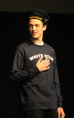 "Georgetown: Cole Martens of Georgetown as Frederick Fleet, performs during the dress rehearsal of ""Titanic"" the musical at  the First Congregational Church in Georgetown. Jim Vaiknoras/staff photo"
