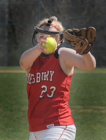 Amesbury: Amesbury's Carolina Merrill pitches to a Triton player during their game at Amesbury Middle School. Jim Vaiknoras/staff photo