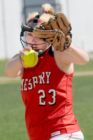 Amesbury: Amesbury's  Caroline Merrill pitches during their game at against Andover at Amesbury Friday. The Indian's won the game 6-3 in extra innings. JIm Vaiknoras/staff photo