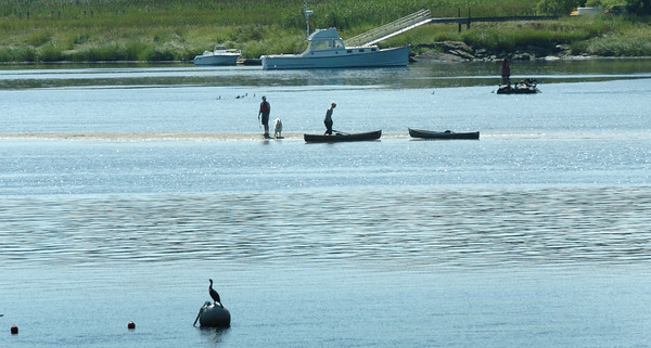 Salisbury: Two canoeists and their dog check out a sandbar in the Merrimack River between Deer and Eagle Islands on Wednesday morning. The sandbar has been more noticeable at low tides in the past several years. Bryan Eaton/Staff Photo