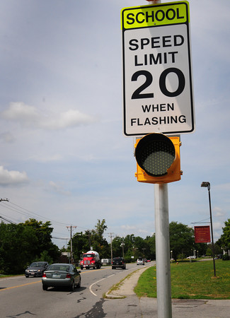 Newburyport: The speed limit along Low Street in Newburyport has been 30 miles per hour, except here near the Nock Middle School where it goes down to 20 when flashing. Bryan Eaton/Staff Photo