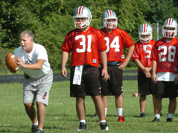 Amesbury: Amesbury head football coach Thom Connors and his team kick off their season with their opening day of practice on Monday. Bryan Eaton/Staff Photo