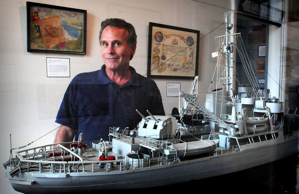 Newburyport: Michael Mroz of the Custome House Maritime Museum with a model of the USCG Icebreaker Eastwind which was in service from 1944 to 1968.Bryan Eaton/Staff Photo
