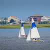 Newburyport: Children take sailing lessons from the American Yacht Club in the Merrimack River off Water Street in Newburyport on Monday afternoon. Bryan Eaton/Staff Photo