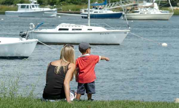 Newburyport: Wren Neumann points out ducks along the Merrimack River at Cashman Park in Newburyport on Tuesday afternoon. The 22-month-old from Groveland was visiting the city with his mother Amy. Bryan Eaton/Staff Photo