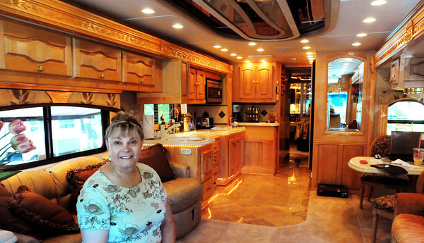 Hampton Fall: Renee-Nicole Douceur in her spacious motor home in Hampton Falls, N.H. She had a stroke while working in Antarctica and while trying to get back home made national news. Bryan Eaton/Staff Photo