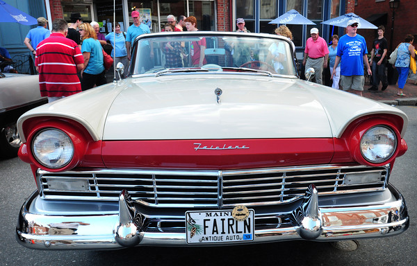 Newburyport: A 1957 Fairlane 500 was one of scores of antiques automobiles that were on display in downtown Newburyport last night. Lee Lewis & the Doo Wop Allstars performed in Market Square for the Cruisin the '50's event. Bryan Eaton/Staff Photo