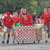 Newburyport: Bob Lobster as a big to-go box races to the finish at the annual Yankee Homecoming Bed Race. Jim Vaiknoras/Staff photo