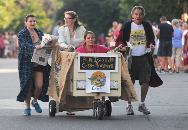 Newburyport: The Plum Island Roasters bed at the annual Yankee Homecoming Bed Race. Jim Vaiknoras/staff photo