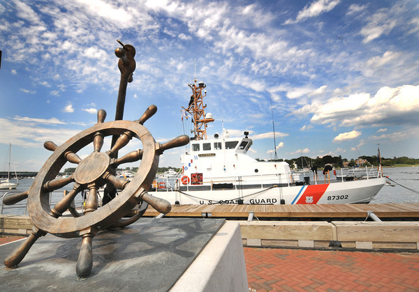 Newburyport: The Coast Guard ship Hammerhead docks near the Heather Lynn II Memorial on the Newburyport Waterfront. Jim Vaiknoras/staff photo