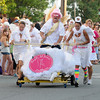 Newburyport: Angels at Home Healthcare races to the finish at the annual Yankee Homecoming Bed Race. Jim Vaiknoras/staff photo