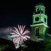 Newpuryport: The annual Yankee Homecoming fireworks explode over St Paul's Church in Newburyport Saturday night. Jim Vaiknoras/staff photo