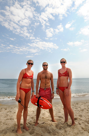 Salisbury: Chelsea Faley, CJ Cronin, and Molly Potter were part of a team of Life Guards that protected swimmer Salisbury Beach. Jim Vaiknoras/staff photo