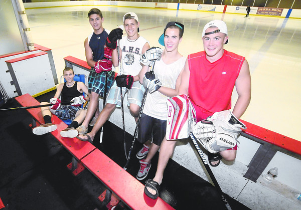 Amesbury: Amesbury hockey player spent this summer not in the sand and sun , but working on their game, from the left,Andy Reidy, Zachery Fitzgerald, Tabor Smith, Lucus Townsend, and Evan King. Jim Vaiknoras/staff photo