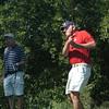 Newbury: Bill Graham of Newburyport tees off during the Yankee Homecoming Golf Tournament at Ould Newbury Country Club. Bryan Eaton/Staff Photo
