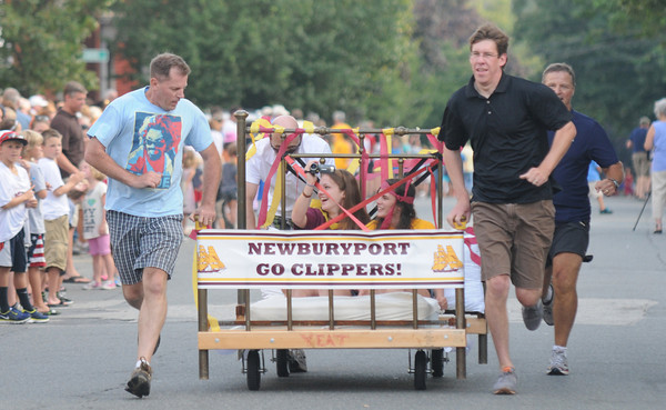 Newburyport: The Newburyport High School team at the annual Yankee Homecoming Bed Race. Jim Vaiknoras/staff photo