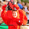 Newburyport: Beth Parks is dressed as a lobster as she rode in the Bob Lobster bed at the annual Yankee Homecoming Bed Race. Jim Vaiknoras/staff photo