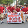 Newburyport: The Daily News team sprints at the annual Yankee Homecoming Bed Race. Jim Vaiknoras/Staff photo