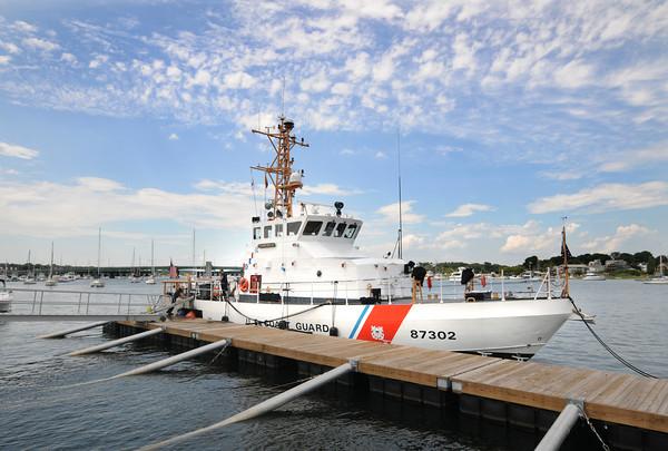Newburyport: The Coast Guard ship Hammerhead docks near the Heather Lynn II Memorial on the Newburyport Waterfront. Jim Vaiknoras/staff photo