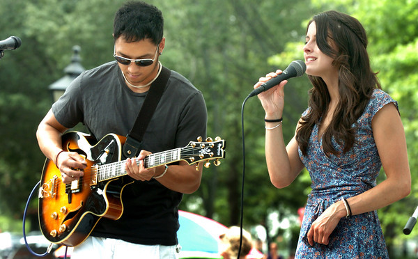 """Newburyport: """"Sierra and Andrew"""" hit the Boston scene as a songwriting duo in the fall of 2009 and performed at the Market Square stage yesterday  afternoon for the Yankee Homecoming Downtown Entertainment Series. Bryan Eaton/Staff Photo"""