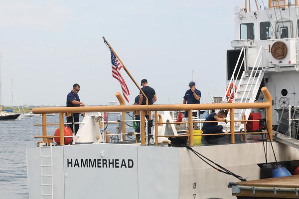 Newburyport: The crew of the Hammerhead make the ship , ship shape for this weekend events honoring Newburyport as a Coast Guard City. Jim Vaiknoras/staff photo