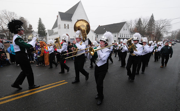 Merrimac: The Pentcket Sachem's Marching Band makes it's way up Church Street in the annual Merrimac Santa Parade Sunday. JIm Vaiknoras/staff photo