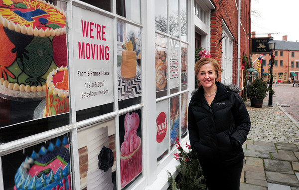 Newburyport: Hilary Larson is moving her business Eat Cake! from its out of the way spot on Prince Place to a very visable location Inn Street in Newburyport. Bryan Eaton/Staff Photo