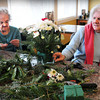 Salisbury: Lorraine Comeau, left, and Caroline Green arrange some Christmas decorations at the Salisbury Assisted Living Center on Tuesday. They were at Holiday Centerpiece Workshop taught by volunteer Brian Belanger. Bryan Eaton/Staff Photo