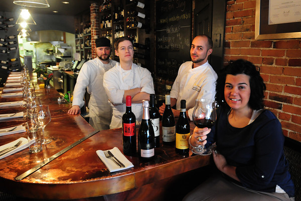 Newburyport: Nancy Batista-Caswell, owner of Ceia Kitchen and Bar is taking her three chef, and these five wines to match the food the prepare, to the James Beard House in New York City. From left, executive chef of the upcoming restaurant Brine, sous-chef Andrew Beddeos and executive chef Patrick Soucy. Bryan Eaton/Staff Photo