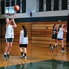 West Newbury: The Pentucket High School girls basketball practices at the gym Monday morning. Bryan Eaton/Staff Photo