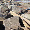 Newbury: Debris from destroyed decks along Annapolis Way on Plum Island lay a few hundred yards up the beach near Plum Island Center . Jim Vaiknoras/staff photo
