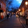 Newburyport: Christmas lights illuminate Inn Street in Newburyport as teh sun sets Sunday evening. JIm Vaiknoras/staff photo