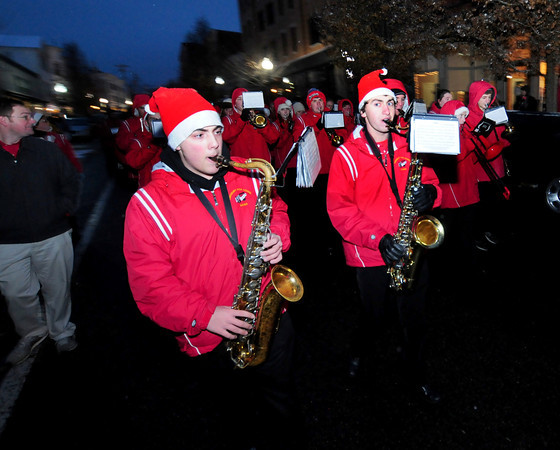 Amesbury:The Amesbury high school band makes their way down Main Street as a light snow falls at the annual Amesbury Parade Saturday.. Jim Vaiknoras/staff photo