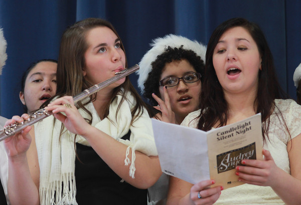 Amesbury: Members of the Whittier Tech Choir sing at the annual Senior Holiday luncheon at the Holy Family in Amesbury. JIm Vaiknoras/staff photo