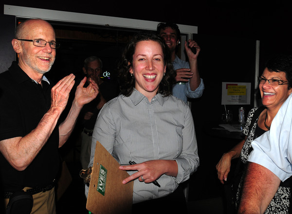 Salisbury: Kathleen O'Connor Ives is congratulated in her win for the democratic nomination for the 1st Essex Senate seat at Chef Howie's Hobo Cafe last night. Bryan Eaton/Staff Photo