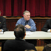 Boxford: Candidates for the Second Essex District state representative seat Democrat Barry Fogel, left, and Republican Lenny Mirra, right, met for a debate last night at the Boxford Community Center moderated by Boxford's town moderator Gerald Johnston. Bryan Eaton/Staff Photo