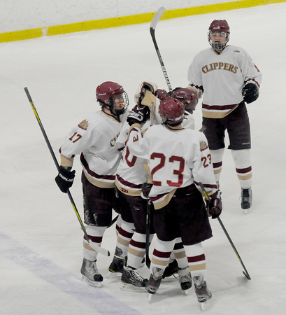 Newburyport:Newburyport celebrate their second first period goal against Amesbury during their game at the Graf Rink Wednesday night. Jim Vaiknoras/staff photo