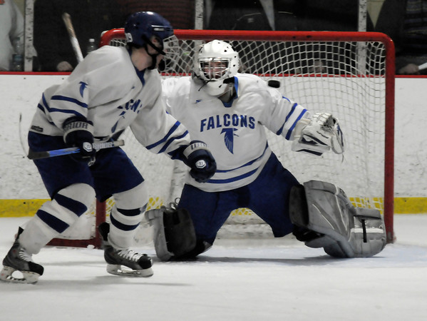 Newburyport:  Danvers's goalie Zach Ingraham makes a stop in the second period against Triton during the  Fournier Division championshipo in Newburyport Bank Classic at the Graf Rink in Newburyport. Jim Vaiknoras/staff photo