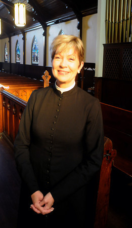 Amesbury: Rev. Susan Esco Chandler at St James Church in Amesbury. On Ash Wednesday, Chandler will be having Ashes on the go where she'll be outside the church next to a sandwich board offering ashes to people who want them.JIm Vaiknoras/staff photo