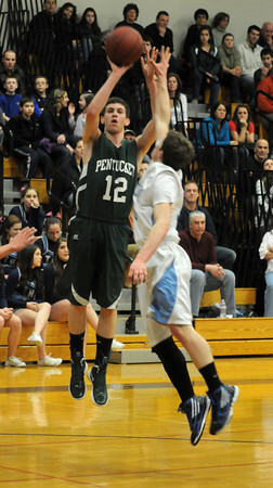 Newbury:Pentucket's Cory McNamara shoots a jump shot during the Sachems game at Triton Friday night. Jim Vaiknoras/staff photo